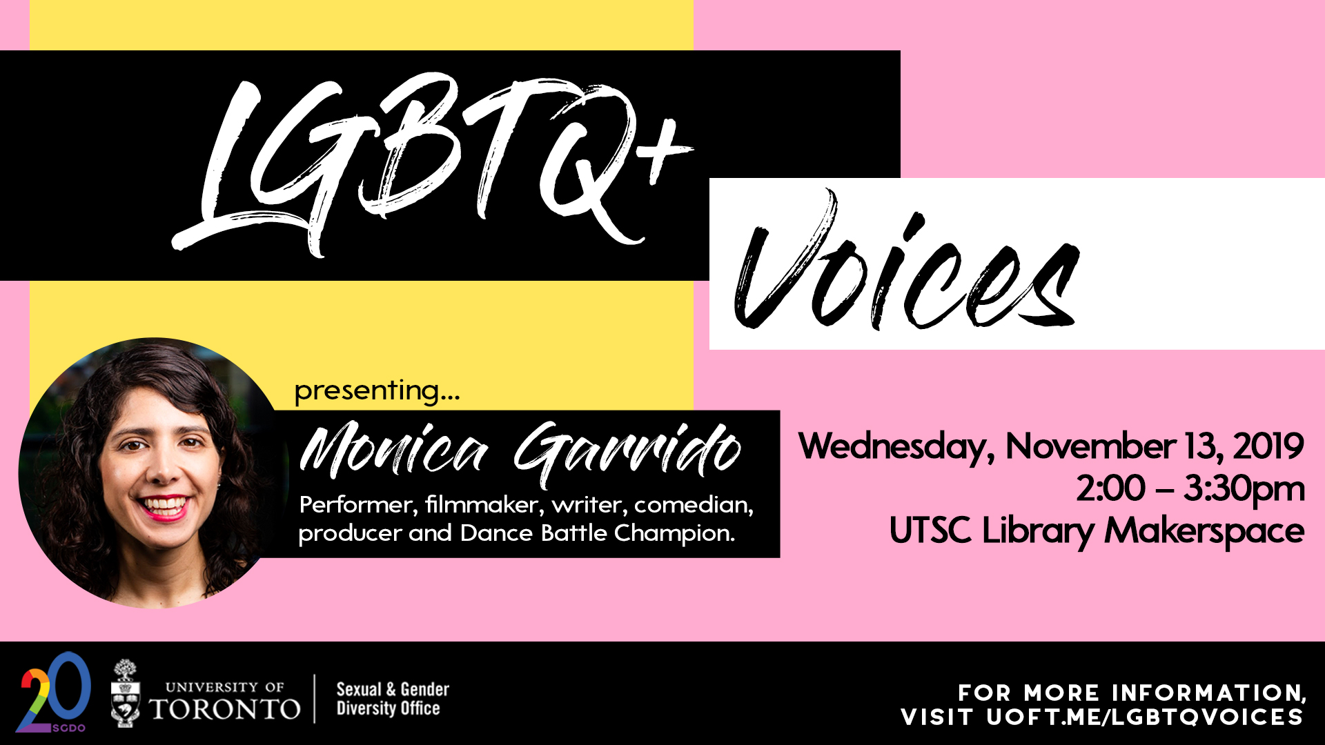 November 13 LGBTQ+ Voices event featuring the work of Monica Garrido